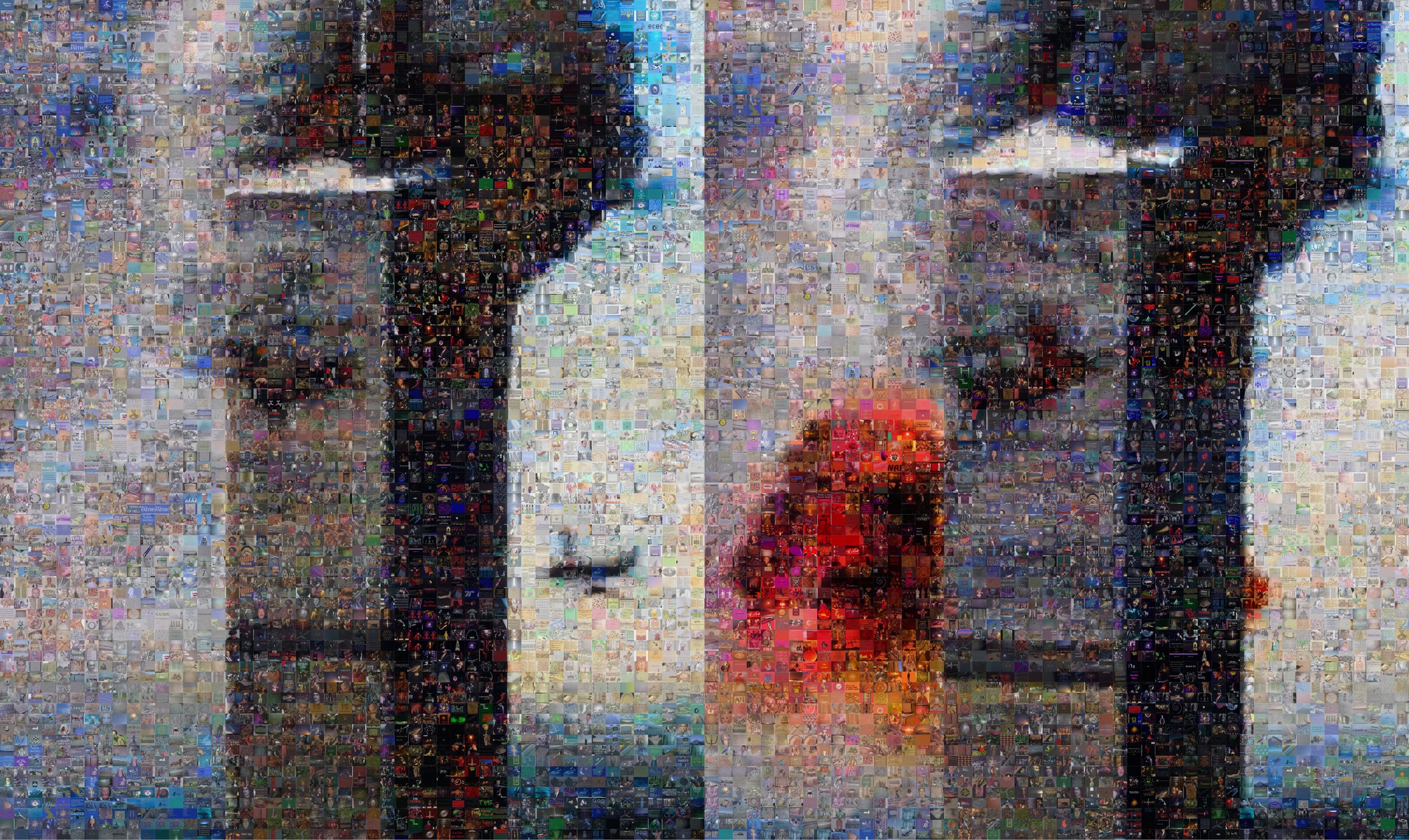Joan Fontcuberta, GOOGLEGRAM: 11-S NY, 2005. Photos de la collision du 11 Septembre. Les photographies ont ÈtÈ reconstruites avec Photomosaic, un logiciel gratuit liÈ ‡ Google Image. Le rÈsultat est une composition de 8 000 images tirÈs díInternet et qui correspondent ‡ la recherche des termes ´ God ª, ´ Yahve ª et ´ Allah ª. ------- Joan Fontcuberta, GOOGLEGRAM: 11-S NY, 2005. GOOGLEGRAM: 11-S NY, 2005. September 11 plane crash snapshots. The photographs have been refashioned using photomosaic freeware, linked to Googleís Image Search function. The final result is a composite of 8,000 images available on the Internet that responded to the words: ëGodí, ëYahveí and ëAllahí.
